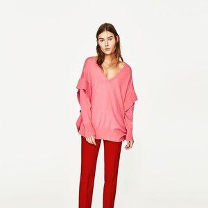 NWT Zara pink flounce sleeve spring sweater top S